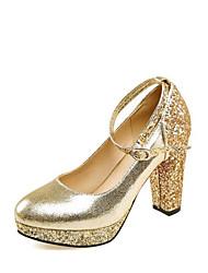 Недорогие -ador® женская обувь синтетика весна& летние лодыжки на каблуках толстый каблук с круглым носком / ботильоны золото / красный / партия& вечер
