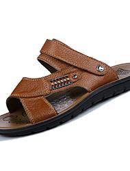 Недорогие -Муж. Наппа Leather Лето Удобная обувь Сандалии Черный / Коричневый / Хаки