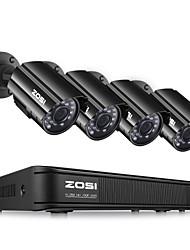 baratos -zosi 4ch hd-tvi 720 p dvr com 4 pcs hd 1280tvl interior / exterior à prova de intempéries câmeras de cctv