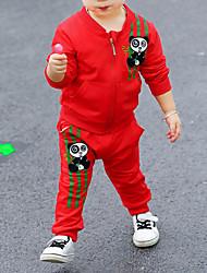 Недорогие -малыш Девочки Уличный стиль Повседневные Геометрический принт Длинный рукав Обычный Хлопок Набор одежды Красный 100 / Дети (1-4 лет)