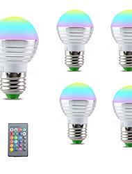Недорогие -5 шт. 3 W 250 lm E14 / E26 / E27 Круглые LED лампы 1 Светодиодные бусины SMD 5050 Smart / Диммируемая / На пульте управления RGBW 85-265 V