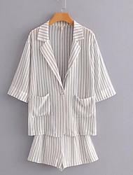cheap -Women's Basic Suits-Striped,Print