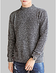 cheap -Men's Long Sleeve Cashmere / Wool Loose Pullover - Solid Colored Round Neck