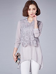 cheap -Women's Street chic Shirt - Solid Colored Lace / Lace Trims
