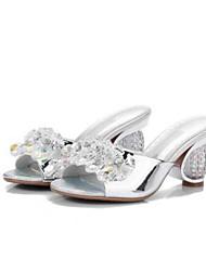 baratos -Mulheres Sapatos Microfibra Primavera / Verão Conforto / Plataforma Básica Sandálias Salto Robusto Dedo Aberto Roxo / Prateado / Azul
