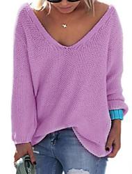 Недорогие -Жен. На выход Длинный рукав Пуловер - Однотонный V-образный вырез