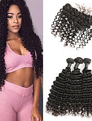 cheap -3 Bundles with Closure Indian Hair Deep Curly Human Hair Human Hair Extensions / Hair Weft with Closure 8-22 inch Human Hair Weaves Best Quality / New Arrival / Hot Sale Human Hair Extensions Women's
