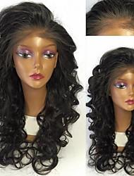 Недорогие -человеческие волосы Remy Лента спереди Парик Бразильские волосы Волнистый Парик 130% Плотность волос с детскими волосами Природные волосы Отбеленные узлы Жен. Длинные