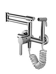 Недорогие -кухонный смеситель - Две ручки двумя отверстиями Хром Стандартный Носик / Горшок Filler Настольная установка Современный Kitchen Taps