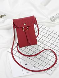 baratos -Mulheres Bolsas PU Telefone Móvel Bag Botões / Mocassim Vermelho / Rosa / Cinzento Claro