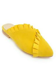 Недорогие -Жен. Обувь Искусственный мех Весна / Лето Удобная обувь Башмаки и босоножки На плоской подошве Закрытый мыс Черный / Желтый