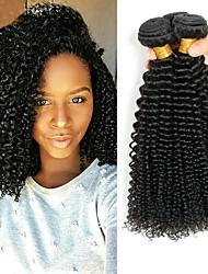 Недорогие -3 Связки Перуанские волосы / Индийские волосы Kinky Curly Необработанные / Натуральные волосы Подарки / Человека ткет Волосы / Сувениры для чаепития 8-28 дюймовый Естественный цвет
