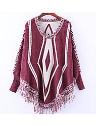 billige -Dame Basale / Gade Pullover - Ensfarvet / Farveblok, Kvast / Patchwork