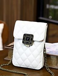 Недорогие -Жен. Мешки PU Мобильный телефон сумка Пуговицы Черный / Пурпурный / Винный