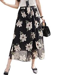 cheap -Women's Wide Leg Pants - Floral Patchwork