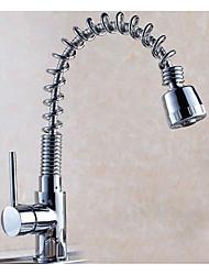 Недорогие -кухонный смеситель - Одной ручкой одно отверстие Хром Выдвижная / Выпадающий Настольная установка Современный Kitchen Taps / Латунь