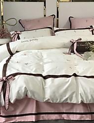 baratos -Conjuntos de capa de edredão geométrica 100% algodão impressão reativa 4 peça conjuntos de cama / 4 pcs (1 capa de edredão, 1 folha plana, 2 shams) rainha