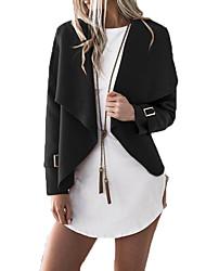 Недорогие -Жен. Повседневные Классический Короткая Куртка, Однотонный Отложной Длинный рукав Полиэстер Верблюжий / Серый / Винный M / L / XL