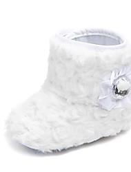 levne -Dívčí Boty Umělá kožešina Zima / Podzim zima Botky pro novorozence / Sněhule Boty Štras / Květiny / Háčky a očka pro Děti Bílá / Černá / Růžová / Party