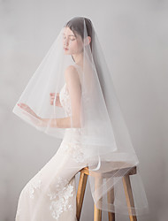 cheap -Two-tier Japan and Korea Style Wedding Veil Fingertip Veils with Fringe 62.99 in (160cm) Cotton / nylon with a hint of stretch / Drop Veil