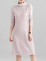 baratos -Mulheres Básico Tricô Vestido Sólido Gola Alta Médio