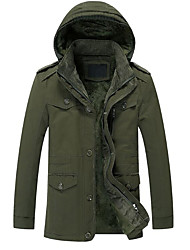 cheap -Men's Plus Size Street chic Cotton Parka - Solid Colored Hooded / Long Sleeve