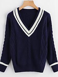 Недорогие -Жен. Повседневные Классический Контрастных цветов Длинный рукав Обычный Пуловер, V-образный вырез Белый / Темно синий Один размер