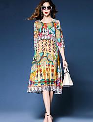 cheap -Women's Going out Cotton Loose A Line Dress - Geometric Print / Summer