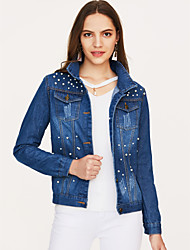 Недорогие -Жен. На выход Большие размеры Джинсовая куртка Однотонный, Хлопок Чистый цвет