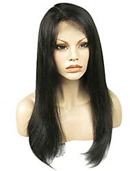 economico -Capello vergine Lace integrale Parrucca Brasiliano Liscio / Classico Parrucca Corto / Lungo / Lunghezza media Parrucche di capelli umani con retina / Dritto
