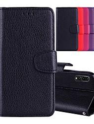 Недорогие -Кейс для Назначение Huawei P20 Pro / P20 lite Бумажник для карт / со стендом / Флип Чехол Однотонный Твердый Кожа PU для Huawei P20 / Huawei P20 Pro / Huawei P20 lite