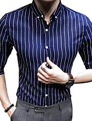 Недорогие -Муж. Рубашка Классический воротник Тонкие Полоски / Контрастных цветов / Длинный рукав / Лето