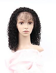 abordables -Cabello Remy Encaje Completo Wig Cabello Brasileño Afro Kinky Peluca Corte asimétrico 130% Mujer / Fácil vestidor / sexy lady Negro Mujer 8-14 Pelucas de Cabello Natural