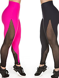 cheap -Women's See Through Yoga Pants - Black, Fuchsia Sports Spot Spandex 3/4 Tights / Leggings Running, Fitness, Dance Activewear Anatomic Design, Breathable, Compression Stretchy
