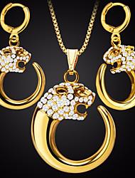 abordables -Mujer Zirconia Cúbica Elegante / Cadena de cola de zorra Conjunto de joyas - Animal Elegante, Lujo, Diseño Único Incluir Pendientes colgantes / Collares con colgantes Dorado / Plata Para Regalo