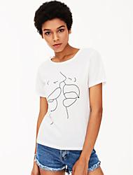baratos -Mulheres Camiseta Sólido / Retrato Algodão