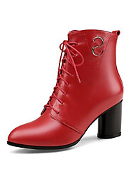 cheap -Women's Shoes Nappa Leather Fall & Winter Lace Up / Fashion Boots Boots Chunky Heel Black / Red
