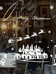 Недорогие -Оконная пленка и наклейки Украшение Рождество С принтом / Праздник ПВХ Стикер на окна / Столовая / Магазин / Кафе