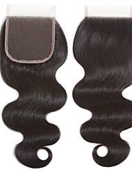 billige -Peruviansk hår 4x4 Lukning Bølget Schweiziske blonder Menneskehår Dame Bedste kvalitet / 100% Jomfru / Lace Closure Jul / Julegaver / Bryllup