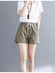 cheap -women's linen shorts pants - solid colored