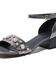 baratos -Mulheres Sapatos Pele Napa Primavera Conforto Sandálias Salto Robusto Preto / Prata / Vinho