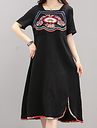 cheap -Women's Chinoiserie Shift Dress Black & Red, Embroidered / Print
