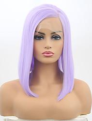 billiga -Syntetiska snörning framifrån Dam Matt Lila Bob-frisyr Syntetiskt hår 12 tum Justerbar / Värmetåligt Lila Peruk Korta Spetsfront Lila / Ja