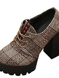 baratos -Mulheres Bullock Shoes Couro Ecológico Verão Com Laço Oxfords Salto Robusto Ponta Redonda Preto / Marron / Diário