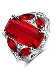 cheap -Women's Vintage Style Classic Statement Ring Ring - Copper, Rhinestone, Platinum Plated Hope Vintage, Hyperbole, Elegant 6 / 7 / 8 / 9 / 10 Red For Party Birthday