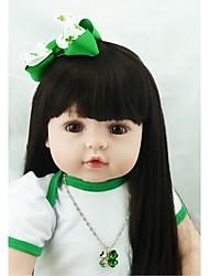 Недорогие -NPKCOLLECTION Куклы реборн Девочки 24 дюймовый как живой Подарок Искусственная имплантация Коричневые глаза Детские Девочки Игрушки Подарок