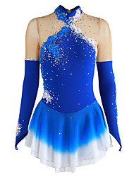cheap -Figure Skating Dress Women's / Girls' Ice Skating Dress Blue Spandex Rhinestone / Appliques Performance Skating Wear Handmade Floral /
