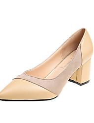 Недорогие -Жен. Комфортная обувь Синтетика Весна & осень Обувь на каблуках На толстом каблуке Заостренный носок Черный / Миндальный / Контрастных цветов