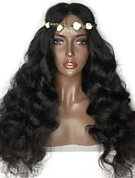 Недорогие -человеческие волосы Remy Лента спереди Парик Бразильские волосы Естественные волны Черный Парик Стрижка каскад 180% Плотность волос с детскими волосами Природные волосы Для темнокожих женщин Черный