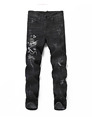 cheap -Men's Street chic / Chinoiserie Jeans Pants - Animal Black & White, Hole / Embroidered